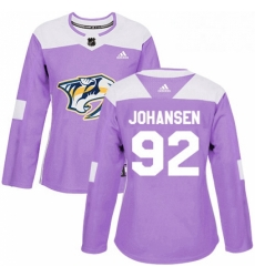 Womens Adidas Nashville Predators 92 Ryan Johansen Authentic Purple Fights Cancer Practice NHL Jersey