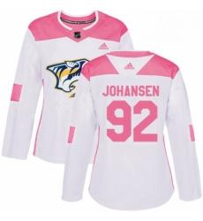 Womens Adidas Nashville Predators 92 Ryan Johansen Authentic WhitePink Fashion NHL Jersey