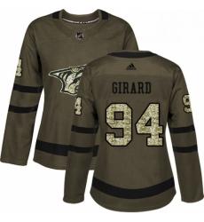 Womens Adidas Nashville Predators 94 Samuel Girard Authentic Green Salute to Service NHL Jersey