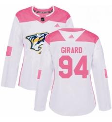 Womens Adidas Nashville Predators 94 Samuel Girard Authentic WhitePink Fashion NHL Jersey