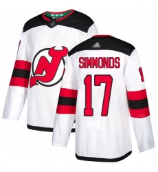 Devils #17 Wayne Simmonds White Road Authentic Stitched Hockey Jersey