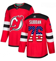 Devils #76 P  K  Subban Red Home Authentic USA Flag Stitched Hockey Jersey