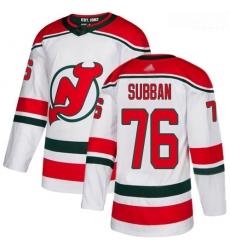 Devils #76 P  K  Subban White Alternate Authentic Stitched Hockey Jersey