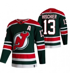 Men New Jersey Devils 13 Nico Hischier Green Adidas 2020 21 Reverse Retro Alternate NHL Jersey