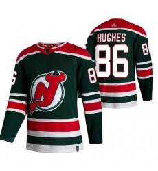 Men New Jersey Devils 86 Jack Hughes Green Adidas 2020 21 Reverse Retro Alternate NHL Jersey