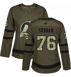 Devils #76 P  K  Subban Green Salute to Service Women Stitched Hockey Jersey