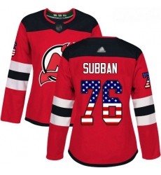 Devils #76 P  K  Subban Red Home Authentic USA Flag Women Stitched Hockey Jersey
