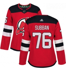 Devils #76 P  K  Subban Red Home Authentic Women Stitched Hockey Jersey