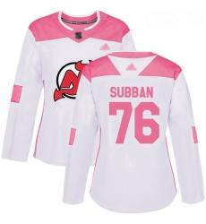 Devils #76 P  K  Subban White Pink Authentic Fashion Women Stitched Hockey Jersey
