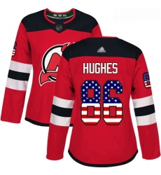 Devils #86 Jack Hughes Red Home Authentic USA Flag Women Stitched Hockey Jersey