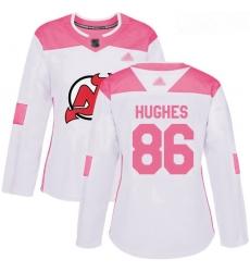 Devils #86 Jack Hughes White Pink Authentic Fashion Women Stitched Hockey Jersey