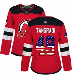 Womens Adidas New Jersey Devils 49 Eric Tangradi Authentic Red USA Flag Fashion NHL Jersey
