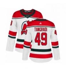 Womens Adidas New Jersey Devils 49 Eric Tangradi Authentic White Alternate NHL Jersey