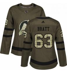Womens Adidas New Jersey Devils 63 Jesper Bratt Authentic Green Salute to Service NHL Jersey