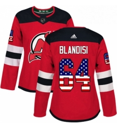 Womens Adidas New Jersey Devils 64 Joseph Blandisi Authentic Red USA Flag Fashion NHL Jersey