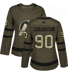 Womens Adidas New Jersey Devils 90 Marcus Johansson Authentic Green Salute to Service NHL Jersey