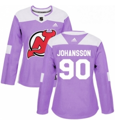 Womens Adidas New Jersey Devils 90 Marcus Johansson Authentic Purple Fights Cancer Practice NHL Jersey