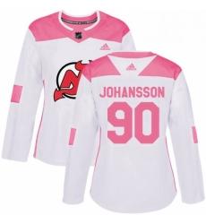 Womens Adidas New Jersey Devils 90 Marcus Johansson Authentic WhitePink Fashion NHL Jersey