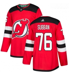 Devils #76 P  K  Subban Red Home Authentic Stitched Youth Hockey Jersey