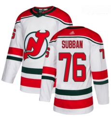 Devils #76 P  K  Subban White Alternate Authentic Stitched Youth Hockey Jersey