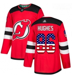 Devils #86 Jack Hughes Red Home Authentic USA Flag Stitched Youth Hockey Jersey