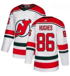 Devils #86 Jack Hughes White Alternate Authentic Stitched Youth Hockey Jersey