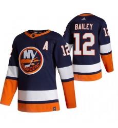 Men New York Islanders 12 Josh Bailey Navy Blue Adidas 2020 21 Reverse Retro Alternate NHL Jersey