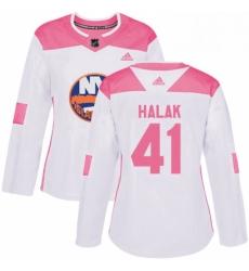 Womens Adidas New York Islanders 41 Jaroslav Halak Authentic WhitePink Fashion NHL Jersey