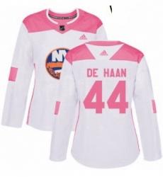 Womens Adidas New York Islanders 44 Calvin de Haan Authentic WhitePink Fashion NHL Jersey