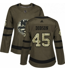 Womens Adidas New York Islanders 45 Noah Dobson Authentic Green Salute to Service NHL Jersey