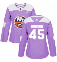 Womens Adidas New York Islanders 45 Noah Dobson Authentic Purple Fights Cancer Practice NHL Jersey