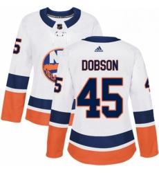 Womens Adidas New York Islanders 45 Noah Dobson Authentic White Away NHL Jersey