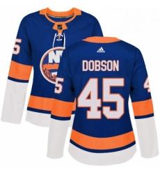 Womens Adidas New York Islanders 45 Noah Dobson Premier Royal Blue Home NHL Jersey