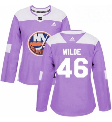 Womens Adidas New York Islanders 46 Bode Wilde Authentic Purple Fights Cancer Practice NHL Jersey