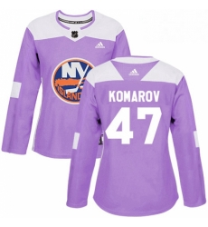 Womens Adidas New York Islanders 47 Leo Komarov Authentic Purple Fights Cancer Practice NHL Jersey