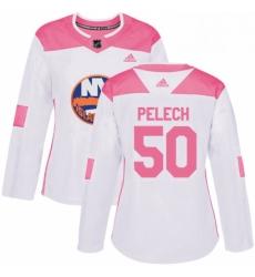 Womens Adidas New York Islanders 50 Adam Pelech Authentic WhitePink Fashion NHL Jersey