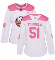 Womens Adidas New York Islanders 51 Valtteri Filppula Authentic White Pink Fashion NHL Jersey