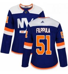 Womens Adidas New York Islanders 51 Valtteri Filppula Premier Blue Alternate NHL Jersey