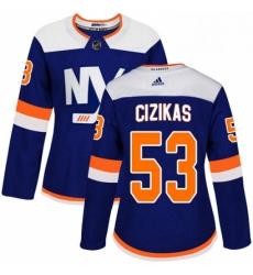 Womens Adidas New York Islanders 53 Casey Cizikas Premier Blue Alternate NHL Jersey