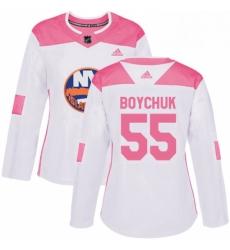 Womens Adidas New York Islanders 55 Johnny Boychuk Authentic WhitePink Fashion NHL Jersey