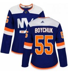 Womens Adidas New York Islanders 55 Johnny Boychuk Premier Blue Alternate NHL Jersey