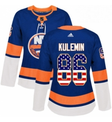 Womens Adidas New York Islanders 86 Nikolay Kulemin Authentic Royal Blue USA Flag Fashion NHL Jersey