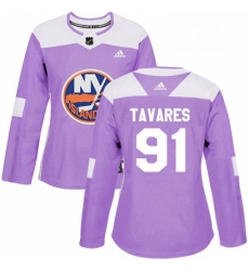 Womens Adidas New York Islanders 91 John Tavares Authentic Purple Fights Cancer Practice NHL Jersey