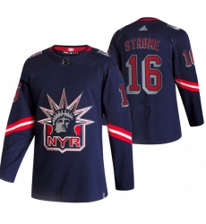 Men New York Rangers 16 Ryan Strome Navy Adidas 2020 21 Reverse Retro Alternate NHL Jersey