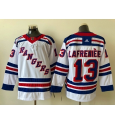 Men New York Rangers Alexis Lafreniere 13 White 2020 21 Reverse Retro Alternate NHL Jersey