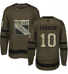 Rangers #10 Artemi Panarin Green Salute to Service Stitched Hockey Jersey