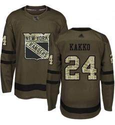 Rangers 24 Kaapo Kakko Green Salute to Service Stitched Hockey Jersey