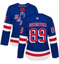 Womens Adidas New York Rangers 89 Pavel Buchnevich Authentic Royal Blue Home NHL Jersey