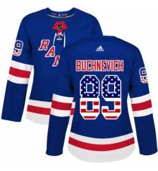 Womens Adidas New York Rangers 89 Pavel Buchnevich Authentic Royal Blue USA Flag Fashion NHL Jersey