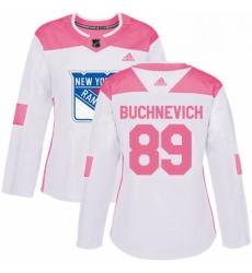 Womens Adidas New York Rangers 89 Pavel Buchnevich Authentic WhitePink Fashion NHL Jersey